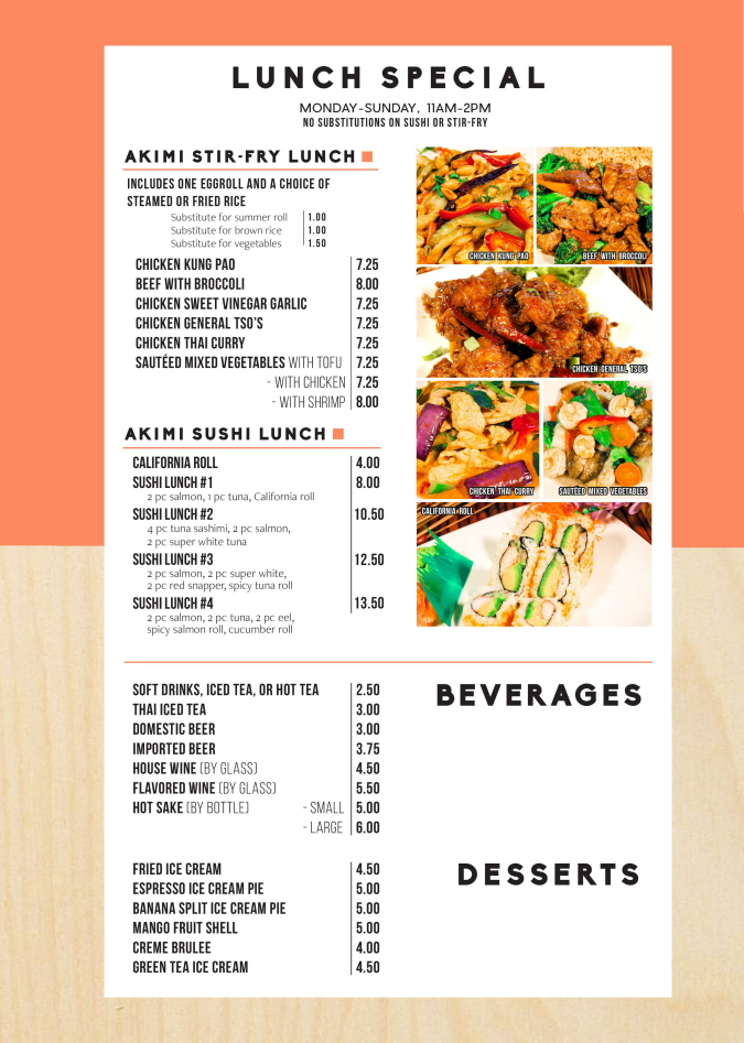 Menus Of Texas - Akimi Sushi & Stir-Fry - Lunch Menu
