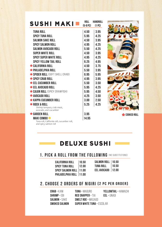 Menus Of Texas - Akimi Sushi & Stir-Fry - Sushi Menu