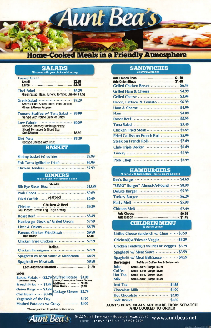 Menus Of Texas - Aunt Bea's Restaurant - Menu