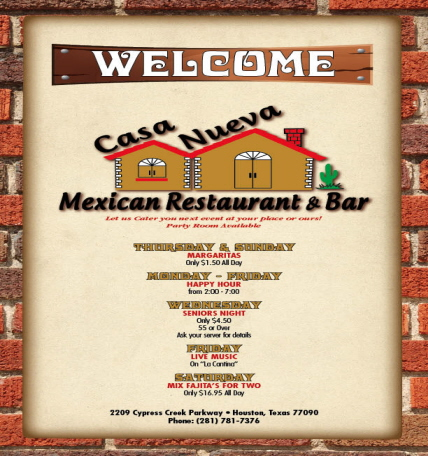 Menus Of Texas - Casa Nueva Mexican Restaurant