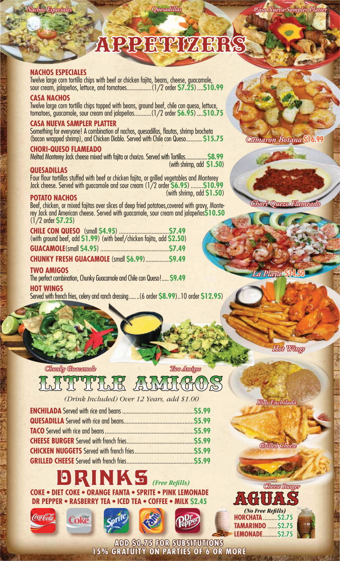Menus Of Texas - Casa Nueva Mexican Restaurant - Dinner Menu