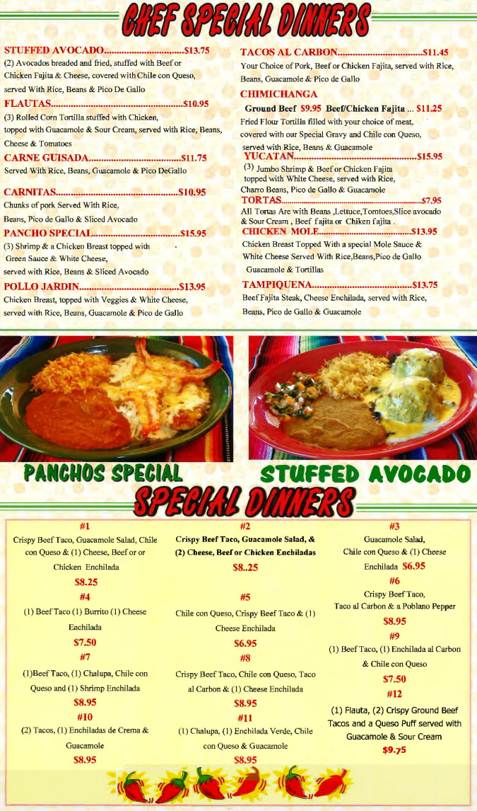 Menus Of Texas - Herreras Mexican Restaurant - Dinner Menu