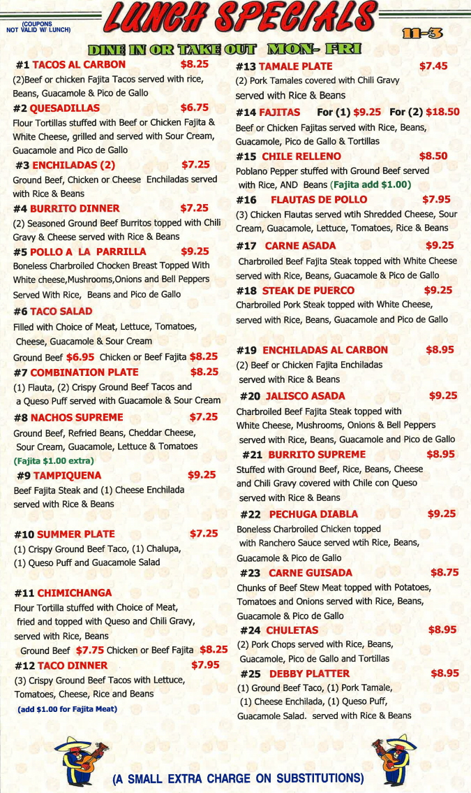 Menus Of Texas - Herreras Mexican Restaurant - Lunch Menu