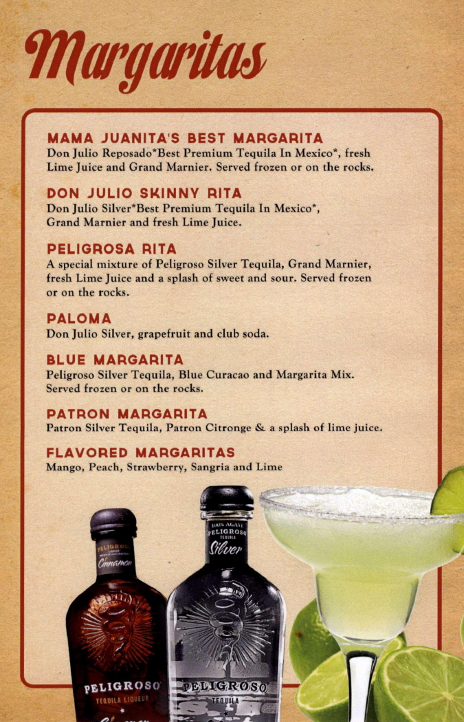 Menus Of Texas - Mama Juanita's Mexican Restaurant - Bar Menu