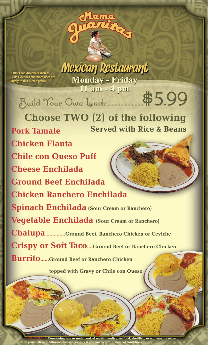 Menus Of Texas - Mama Juanita's Mexican Restaurant - Build Your Own Lunch Menu