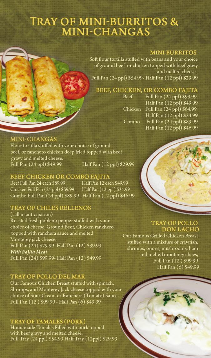 Menus Of Texas - Mama Juanita's Mexican Restaurant - Catering Menu
