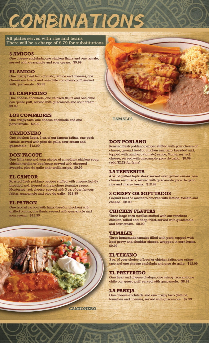 Menus Of Texas - Mama Juanita's Mexican Restaurant - Dinner Menu