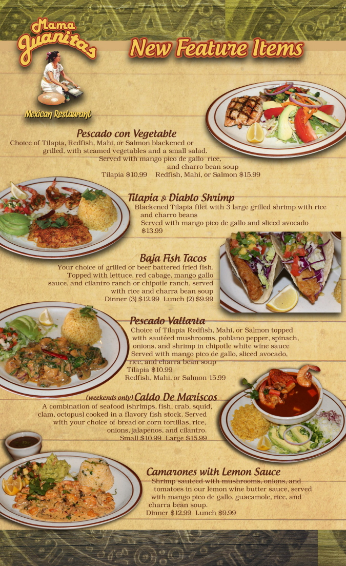 Menus Of Texas - Mama Juanita's Mexican Restaurant - New Feature Items Menu