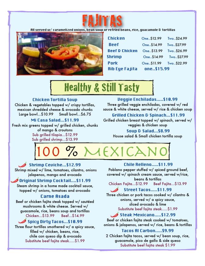 Menus Of Texas - Mi Casa Mexican Grill - Menu