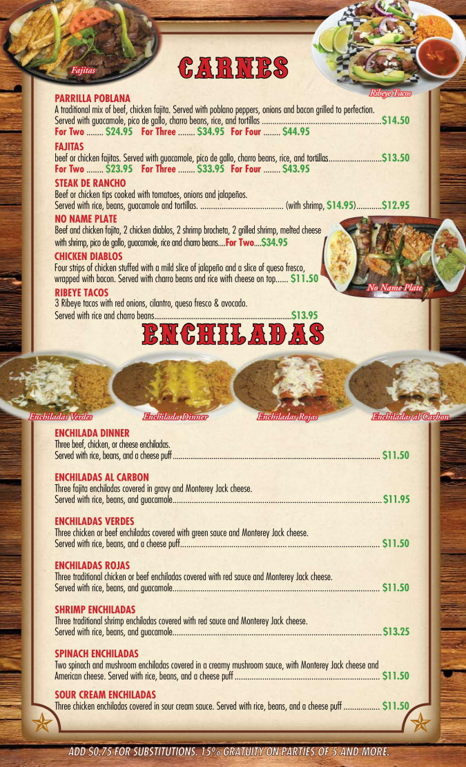 Menus Of Texas - Mi Rancho Mexican Grill & Bar - Dinner Menu