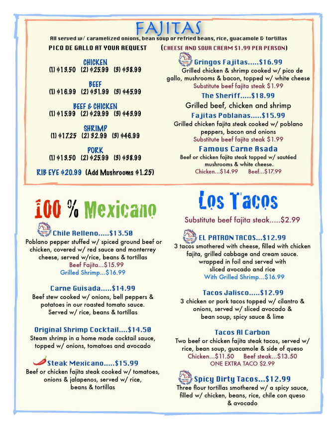 Menus Of Texas - Rancho Grande Bar & Grill - Dinner Menu