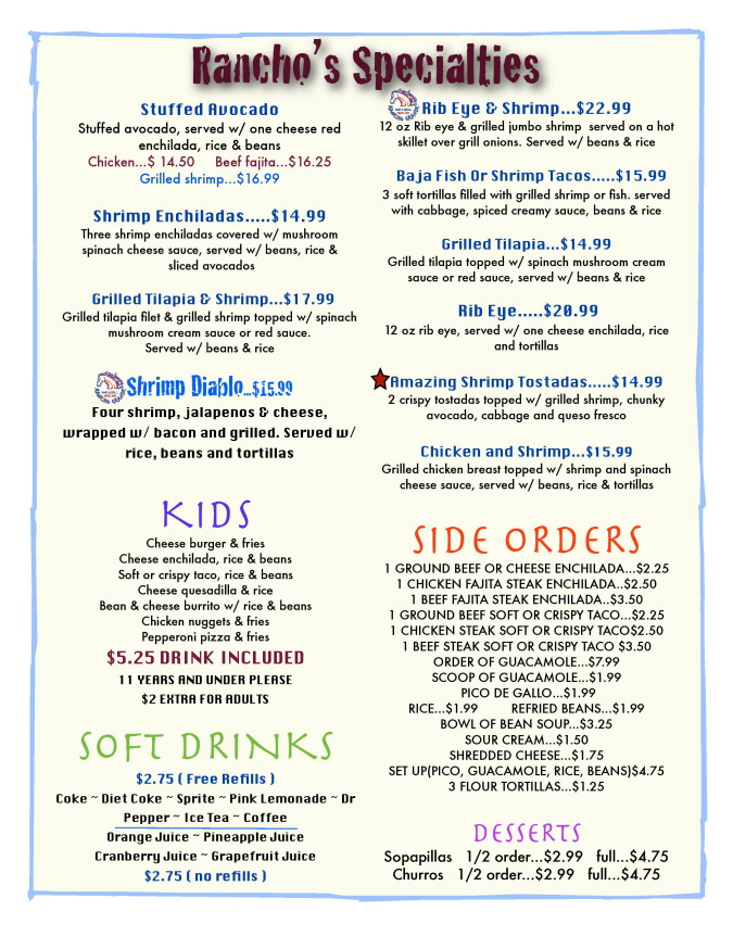 Menus Of Texas - Rancho Grande Bar & Grill - Lunch Menu