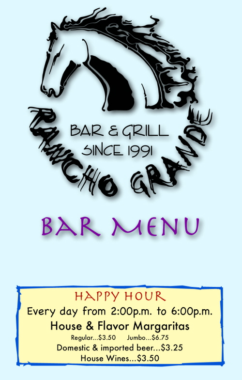 Menus Of Texas - Rancho Grande Bar & Grill - Bar Menu