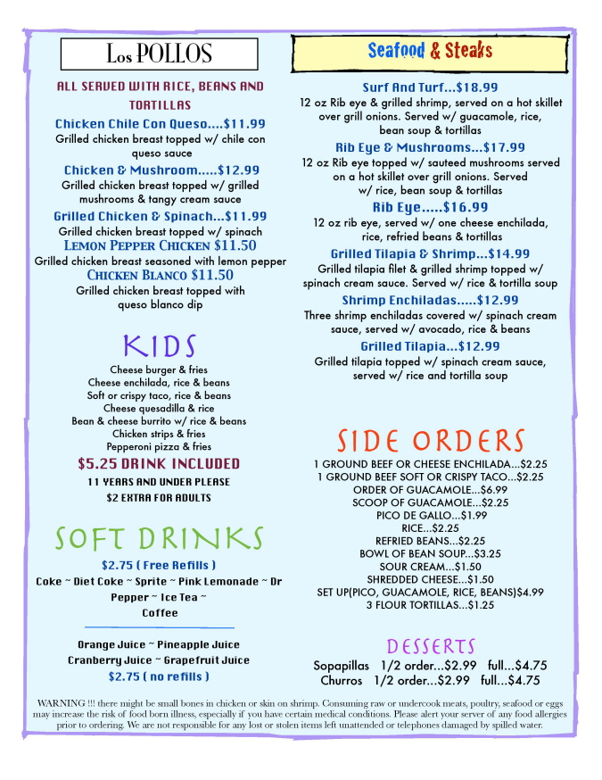 Menus Of Texas - Sombrero Mexican Grill - Menu