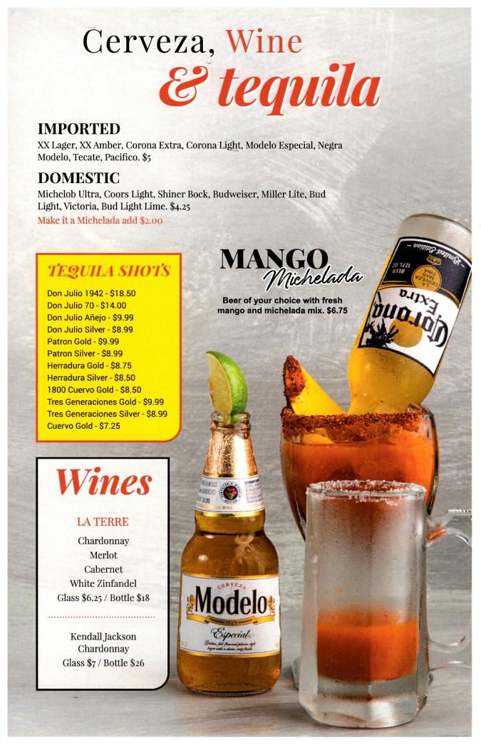 Menus Of Texas - The Big Sombrero Mexican Cantina - Bar Menu