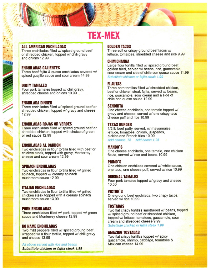 Menus Of Texas - The Big Sombrero Mexican Cantina - Menu